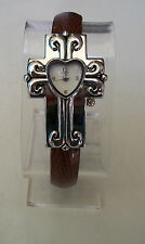 LADIES CROSS SHAPE RELIGIOUS BROWN & SILVER FINISH FASHION BANGLE CASUAL WATCH