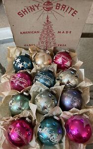 "Vtg 12 Shiny Brite Stencil Christmas Tree Ornaments 2 3/4"" '40s box rare colors"