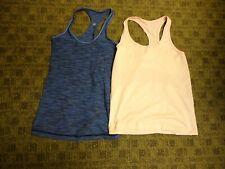 Lululemon Lot Of 2 Pink Blue Polyester Blend Racerback Tops Size 10 Hh2051