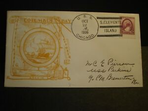 USS CHICAGO CA-29 Naval Cover 1936 COLUMBUS DAY Cachet San CLEMENTE ISLAND SUNK