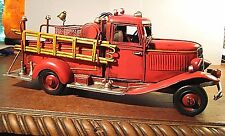 """VINTAGE STYLE METAL FIRE TRUCK MODEL  DETAILED  LARGE 12"""" HOSES LADDER  REPLICA"""