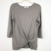 Lucy & Laurel womens shirt M Med taupe brown gray jersey 3/4 sleeve