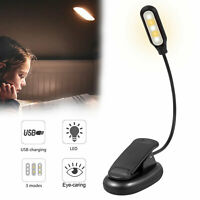 USB Rechargeable Clip-on Table Desk Bed Reading Light Lamp 3 Color LED Flexible