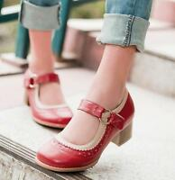 Women Oxford Retro Round Toe Mary Janes Lolita Sweet Strappy Heel Pumps Shoes