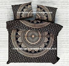 Black Gold Ombre Mandala Indian Duvet Doona Cover Reversible King Quilt Blanket
