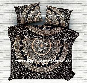 Black Gold Ombre Mandala Indian Duvet Doona Cover Reversible King Quilt Blanket