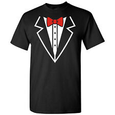 Tuxedo With Red Bow Tie on a Black T Shirt