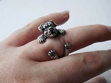 Cute Vintage Silver Adjustable Rottweiler Dog Animal Wrap Ring Nickel Free