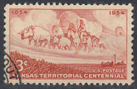 USA Briefmarke gestempelt 3c Kansas Territorial Centennial Rundstempel / 1205