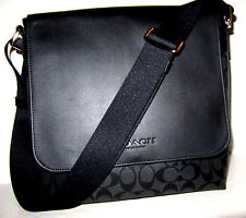 Coach F72109 Men's New Signature Messenger PVC Bag Black Charcoal Grey NWT $375