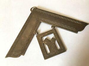 "Large Vintage silver Masonic square badge medal pendant. 3 5/8"" x 5"""