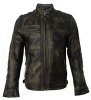 Mens Retro Zipped Biker Real Leather Washed Soft Black & Brown Vintage Jacket