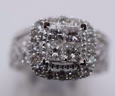 14K White Gold 2 Piece Diamond Halo Engagement Ring With Princess Cut 2.0CT