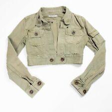 Zara olive green military cropped utility crop bolero denim jacket size medium