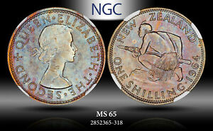 1964 NEW ZEALAND 1 SHILLING NGC MS65 COLOR TONED