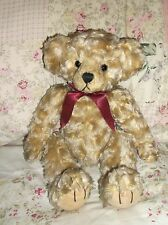 "CUTE!!!!! Teddy Bear Plush BOMBAY STANLEY  14""  Burgundy Bow  CURLY Sandy Color"