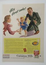 Original Print Ad 1944 CARNATION MILK His First Solo Vintage Artwork