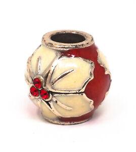 Brighton Poinsettia Stopper Bead J96342 Silver Plate/Enamel Holiday Jewelry NWOT