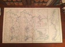 Large Original Antique Civil War Map WINCHESTER Virginia VA SAVANNAH Georgia GA