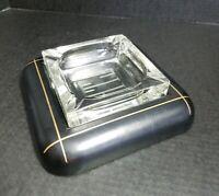VINTAGE GENTLEMAN'S GLASS LEATHER CIGAR CIGARETTE ASHTRAY MID CENTURY RARE