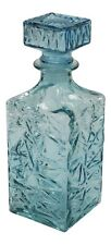 More details for 1 litre turquoise wine decanter cut glass decanter square whisky decanter 23cm