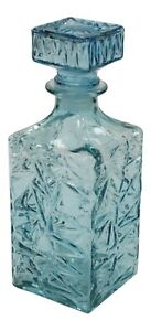 1 Litre Turquoise Wine Decanter Cut Glass Decanter Square Whisky Decanter 23cm
