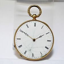 Antique Aiguilles 18k Gold 4 Rubis Echappement Cylinder 8s French Pocket Watch
