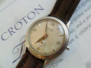 Clean Vintage S/S Men's 1960s Croton Aquamatic Automatic Swiss Watch 4 REPAIR