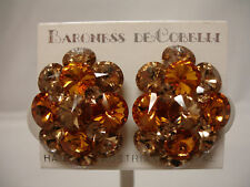 BARONESS DE COBELLI GOLD FINE CRYSTAL CLIP EARRINGS RETAIL $45.00 NBW