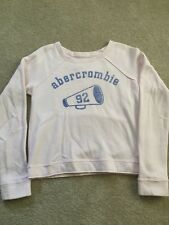 Ambercrombie Girls Size L Pink Shirt Logo Sparkle Short Cropped Sweatshirt