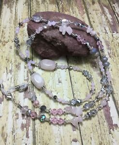 Handmade Rose Quartz Gemstone Eyeglass Holder/Lanyard W/Swarovski Elements USA
