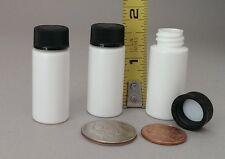 10 EmptyTiny White Plastic HDPE 6ml Mini Bottles ~ with Black Lined Screw Cap