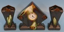 Art Deco Continental Glazed Earthenware Clock Garniture having triangular shaped