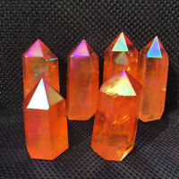 2.2LB Titanium rainbow aura obelisk quartz crystal wand point tower healing