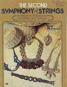 Le Second Symphonie De Cordes Macramé Bijoux Motif Livre #7123 Colliers