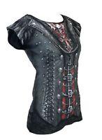 Spiral Direct GOTHESS WRAP Womens Printed Cap Sleeve, Goth/Steampunk/Corset/Top