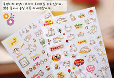 6 X Sheets cute Cat Cartoon Stickers planner Labels Journal Diary