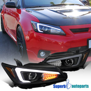 For 2011-2013 Scion tC Black Projector Headlights w/LED Signal&LED Strip