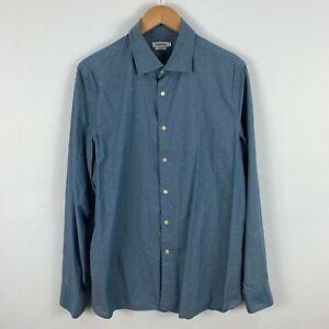 J Lindeberg Mens Button Up Shirt Size Large Slim Blue Floral Long Sleeve 44.02