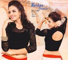 Ready Made Black Lycra Free Size Designer Sari Saree Choli Top Blouse-RC124