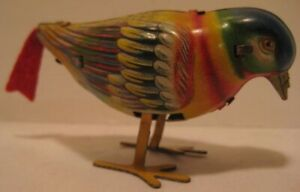 Old Colorful German Tin Wind Up Pecking Songbird w/ Felt Tail