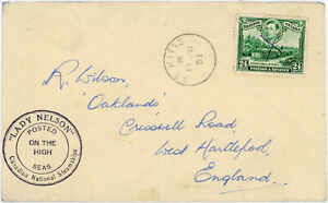 ST KITTS PMK BRITISH GUIANA 24c + CANADIAN NATIONAL STEAMSHIP LADY NELSON 1951