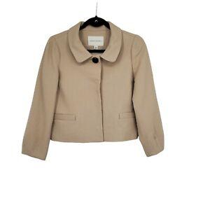 Banana Republic Women's Wool Cropped Blazer Size 4 Light Tan 3/4 Lantern Sleeves