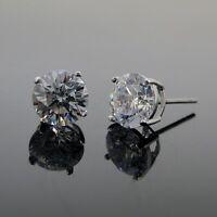 Cubic zirconia stud earrings 925 sterling silver 8mm round best shine AAA cz