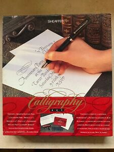 Vintage Sheaffer Calligraphy Fountain Pen Set, Box, Book, Grids, Paper Ink