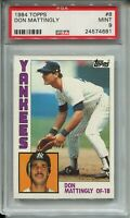 1984 Topps Baseball #8 Don Mattingly Rookie Card RC Graded PSA MINT 9 Yankees