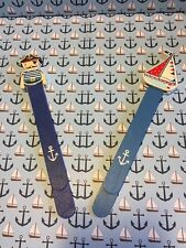 Pirate Nautical Theme Wooden Bookmarks by Gisela Graham Painted Blue Set of 2