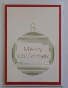 """Handmade Stitched Christmas Card - """" Merry  Christmas """" Bauble ( Green  )"""