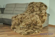 CARAMEL Blanket Throw TOSCANA Wool Shearling Sheepskin real Rug Carpet Natural