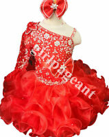 Infant//toddler//baby Red Lace AB stone beaded Pageant Glitz Dress 016red